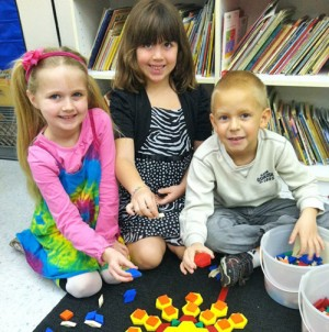 Showell Elementary Students Work Together With Geometric Pattern Blocks