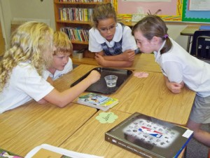 Students Experiment Concept Of Surface Tension