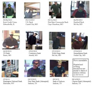 This FBI image shows the numerous surveillance images of the Illinois suspect in the act of robbing banks, including one in Ocean City in July. Photo by FBI