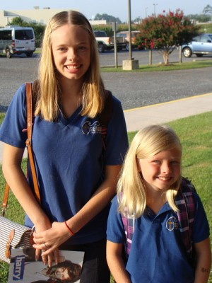 Sisters Start First Day Of School At Seaside Christian Academy