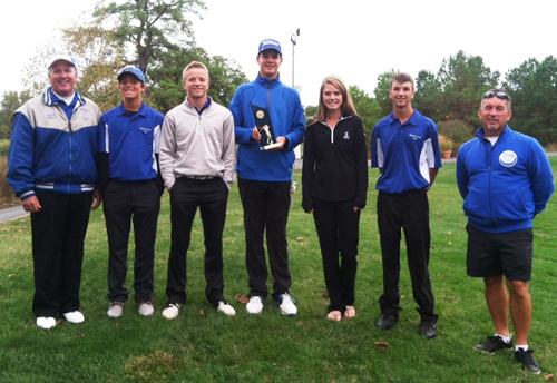 Decatur's varsity golf team captured the Bayside championship on Tuesday. Pictured from left to right: Coach Jim Krall, Andrew Urban, Matt Kristick, Delaney Iacona, Brooks Holloway and Coach Don Furbay.  Submitted photo