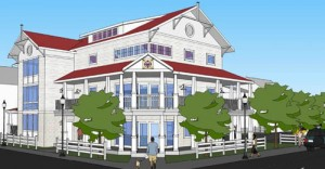 A rendering of the proposed design for the new Ocean City Beach Patrol headquarters downtown is shown. Rendering by Becker Morgan