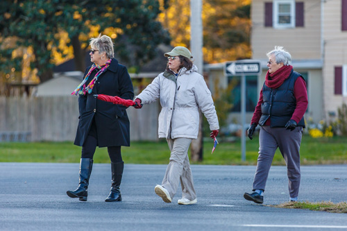 Berlin Councilwoman Lisa Hall and town resident Patricia Dufendach and Sue Beaman walk across Route 113 on Wednesday to gauge safety at its intersection with Bay Street. Photo by Chris Parypa