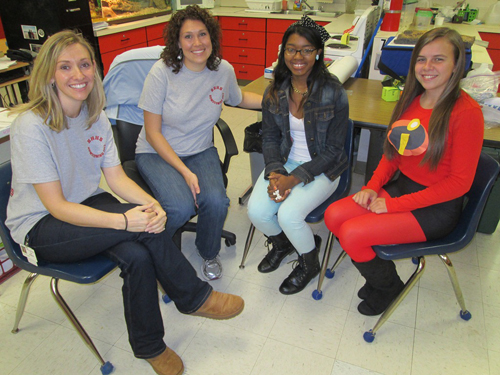 Among those working with the Freshman Focus program are, from left, guidance counselor Rose Zollinger, teacher Jennifer Sills, junior mentor Qwaniesha Milbourne and senior mentor Marleigh Eure. Photo by Travis Brown