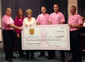 Members of the Salisbury Fire Department presented the proceeds of a recent fundraising campaign to Women Supporting Women officials at this week's Salisbury City Council meeting. Photo by Joanne Shriner