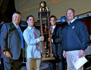 "This year's Atlantic Physical Therapy ""Tough Guy of the Year"" award went to senior Andrew Borradaile. Pictured, from left, are APT CEO Bob Hammond, Borradaile, APT President Bobby Hammond and Head Coach Bob Knox. Submitted Photo"