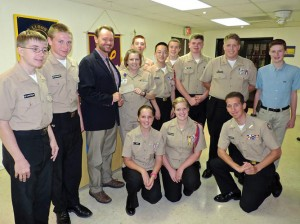 Ocean City Lions Club Presents Check For $1,000 To Stephen Decatur High School's NJROTC