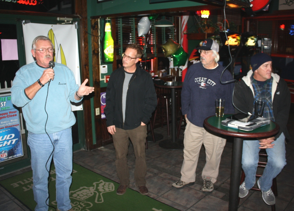 Pictured, from left, at Monday's launch of the Ocean City Surf Club are, form left, Shelly Dawson, Brad Hoffman, Skill Johnson and Chris Tilghman. Photo by Shawn Soper