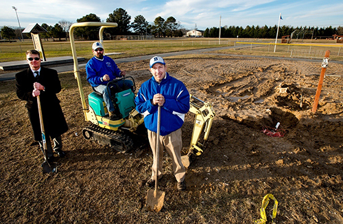 Pictured at the site of the new addition are, from left, Berlin Little League Fundraising Chair Ray Thompson, BLL President Nornie Bunting and BLL Vice President Eric Snelsire. Photo by Grant Gursky