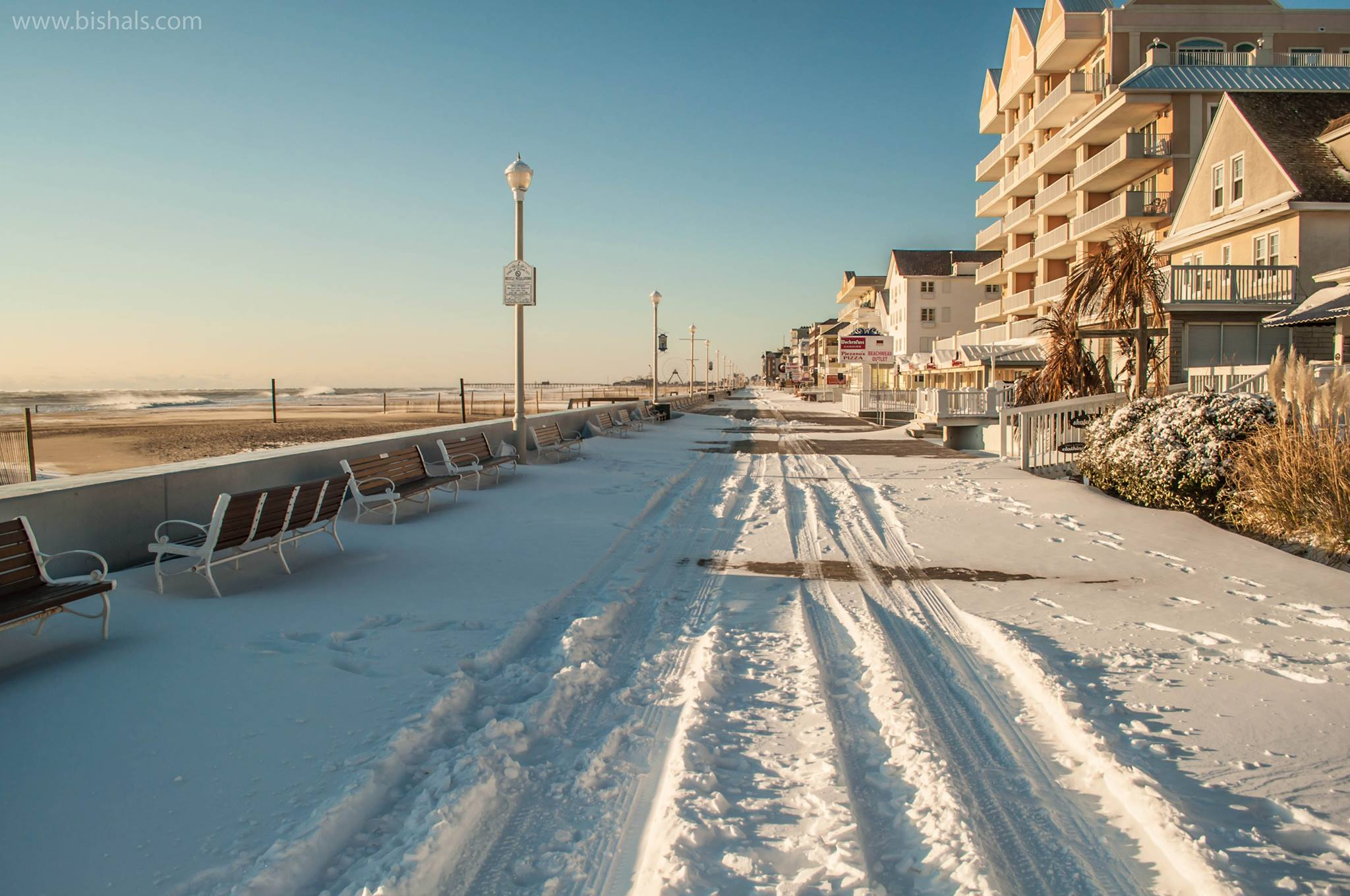 The scene on the Boardwalk this morning near 8th Street. Photo by Bishal Poudel