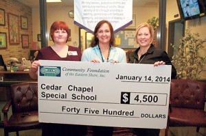 Community Foundation Of The Eastern Shore Awards Cedar Chapel Special School With  $4,500 Education Grant