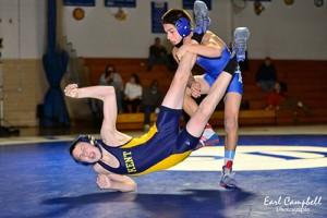 Decatur's Andy McKahan gets the best of Kent County's Kyle Clayton during the Seahawks win last Friday. McKahan went on to pin Clayton to contribute to Decatur's 72-6 win.  Photo by Earl Campbell