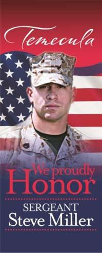 An example of a banner used in the Hometown Heroes Military Banner Program in a California town is pictured. Submitted Photo