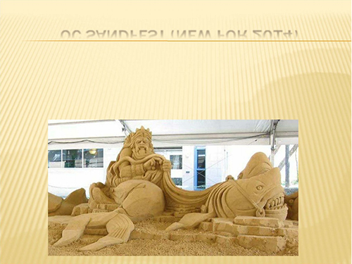 Large, elaborate sand sculptures such as the one shown here will grace the beaches in the downtown area in late August and through Labor Day weekend as part of the O.C. Sandfest, a new feature added to the special events calendar for the summer of 2014.     Submitted photo
