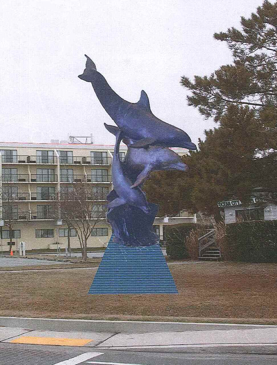 Pictured is a rendering of what the new dolphin statue will look like near the base of Route 90 Bridge. This location is not site specific. Submitted Rendering