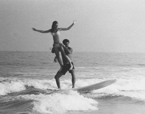 Feehley is pictured tandem surfing in an undated photo. Photo by Ocean City Life-Saving Station Museum