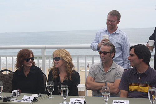 "At a press conference prior to filming in October 2012, ""Ping Pong Summer"" cast members Susan Sarandon, Lea Thompson and Johnn Hannah are pictured with Director Michael Tully and one of the producers, Michael Gottwald, standing. Photo by Shawn Soper"