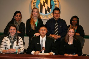 "Participating in this week's Students In Government meeting were, front from left, Vice President Taylor Zimmerman of Pocomoke High, President Gary Qian of Stephen Decatur High, and Elizabeth ""Libby"" Truitt of Worcester Prep; and, back, Kirn Begum, Snow Hill High, Katherine Collins of Stephen Decatur High, Danny Nguyen of Pocomoke High and Amirah Russell of Snow Hill High. Submitted Photo"
