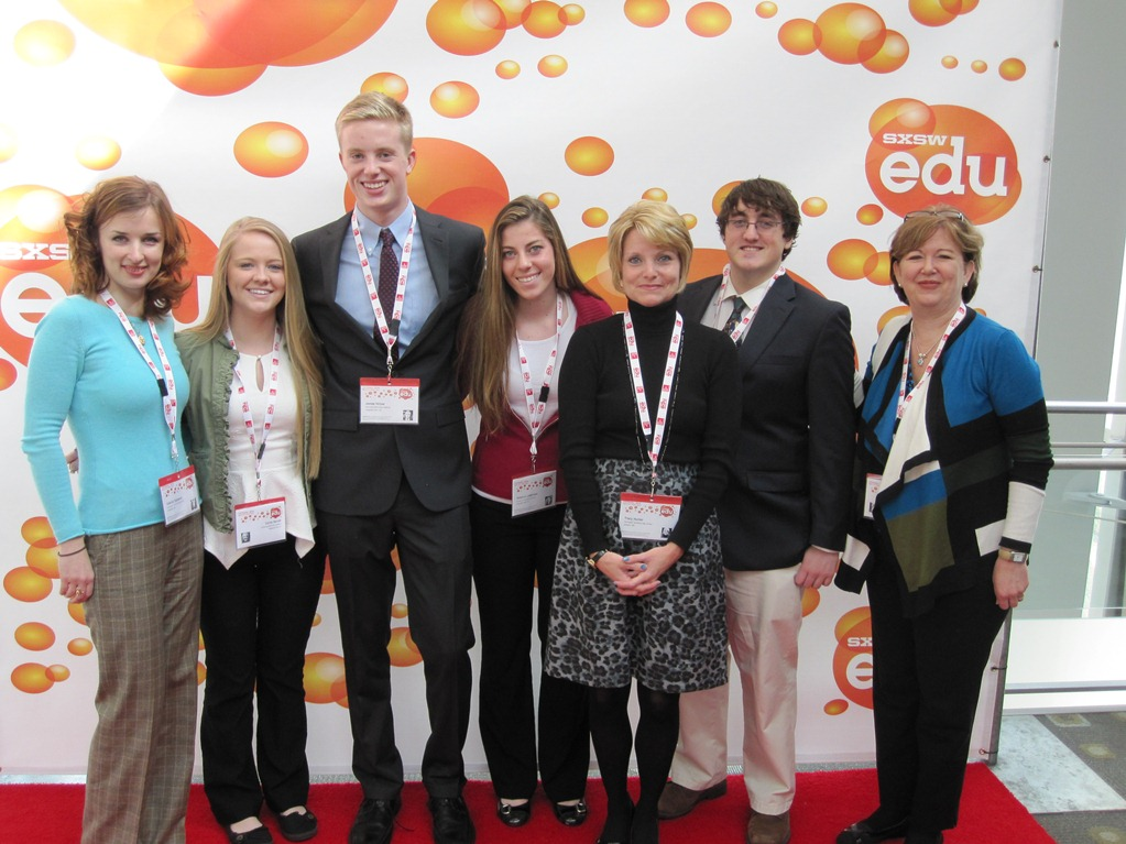 Pictured, from left, at the recent presentation in Texas are teacher Valerie Ziglejeva, students Carlee Bennett, James Hillyer and Rebecca Lederman, teacher Tracy Hunter, student Chris Brown and Principal Caroline Bloxom. Submitted Photo