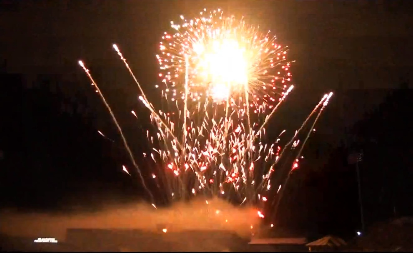 A screen shot of a Kent State University fireworks show is pictured from a video on the American Fireworks company's website.