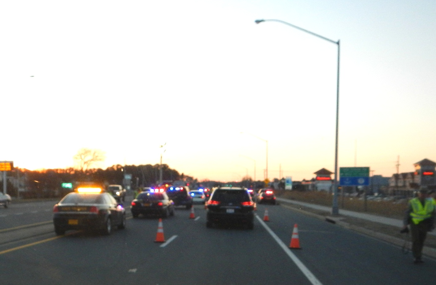 The checkpoint is pictured on Saturday evening shortly after it began. Submitted Photo
