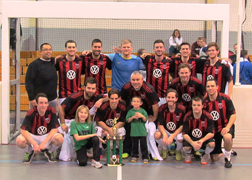 The 26th Ocean City Recreation and Parks Department's St. Patrick's Indoor Soccer Tournament concluded last weekend with the adult men's and women's divisions. Pictured above, the Three Brothers Pizza team shows off its championship trophy after beating River Soccer Club in the title game.  Submitted photo