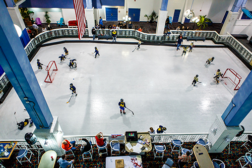 The first-ever youth ice hockey tournament in Ocean City featuring 16 teams and as many as 170 players was held last weekend at the Carousel. Pictured is a look at some of the action from high above the skating rink.   Photo by Chris Parypa