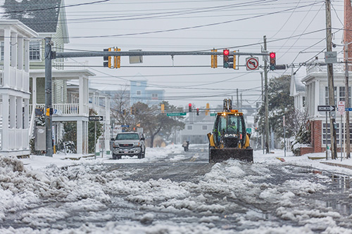 Ocean City is pictured Monday afternoon during the latest winter storm, which cancelled schools across most of the shore. Photo by Chris Parypa