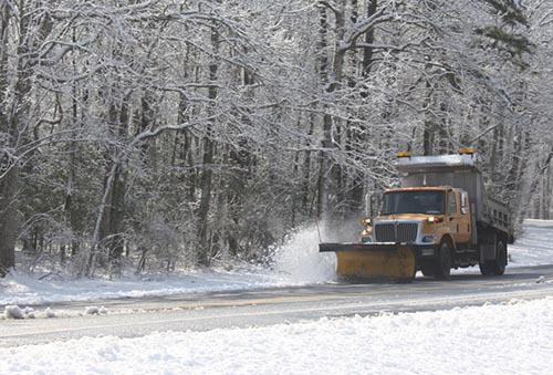 A snowy scene is pictured off Harrison Road on Wednesday morning. Photo by Shawn Soper