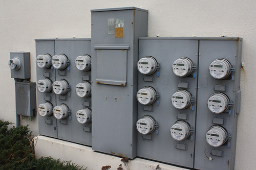 A bank of smart meters is pictured affixed to an Ocean City condominium building this week. Photo by Shawn Soper