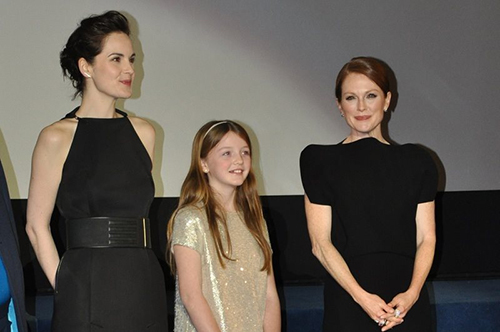 "Worcester Prep student Quinn McColgan, center, is pictured with fellow ""Non-Stop"" movie actresses Michelle Dockery and Julianne Moore at the Paris premiere. Submitted Photo"
