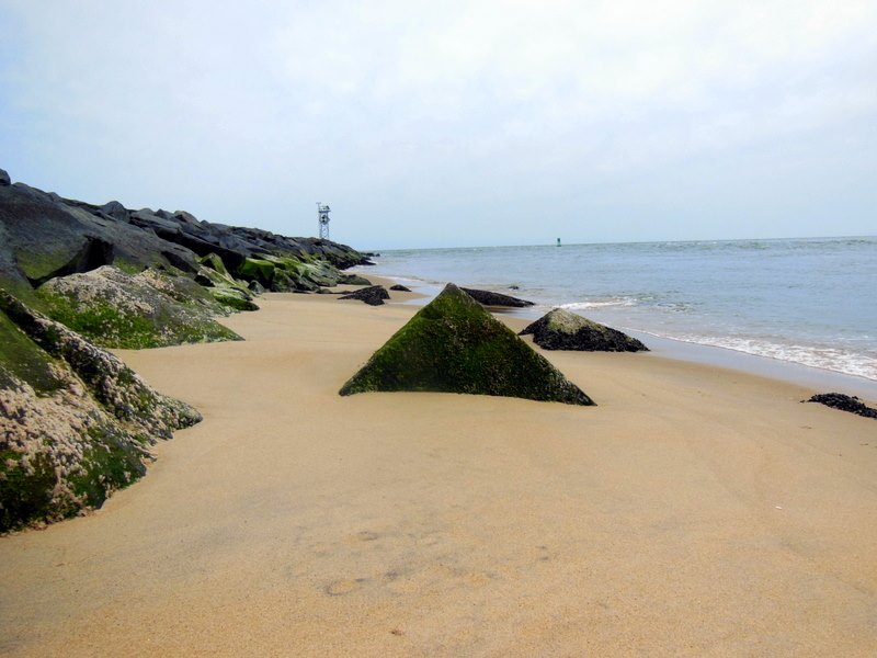 The sand buildup south of the Inlet jetty is pictured last Sunday. Photo by Louis Parsons