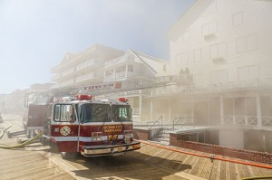 Smoke is pictured emanating from the Majestic Hotel on 7th Street and the Boardwalk last October. Photo by Chris Parypa