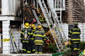 Ocean City Fire Department members are pictured on the scene of the St. Paul's by-the-Sea Church rectory fire last November. Photo by Chris Parypa