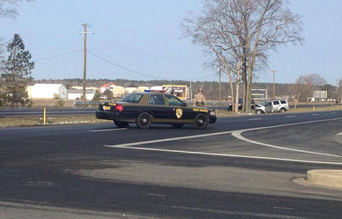 A Maryland State Police vehicle blocks eastbound traffic last Friday morning. Photo by Steve Green