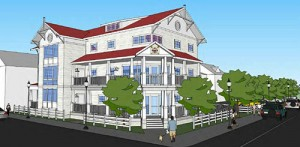 The design of the new Ocean City Beach Patrol headquarters downtown is pictured. Rendering by Becker Morgan