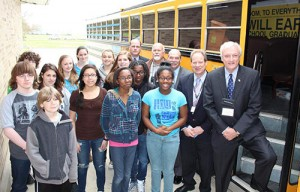 Snow Hill Middle School students are pictured with Worcester County Board of Education COO Louis Taylor, Snow Hill Mayor Charlie Dorman, Counthy Commissioner Virgil Shockley, Superintendent Dr. Jerry Wilson and Senator Jim Mathias. Submitted Photo