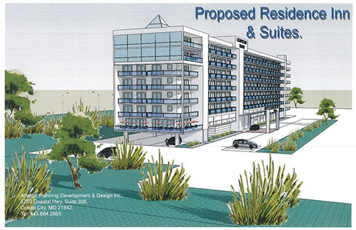 The proposed 142-unit Marriott's Residence Inn cleared the Ocean City Planning Commission this week. Rendering by Atlantic Planning Development and Design