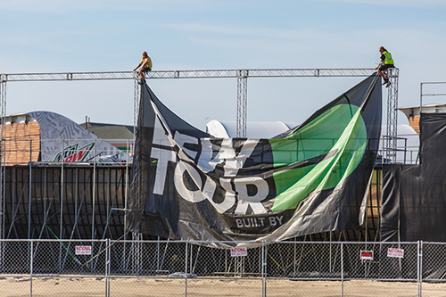 The finishing touches were being put on the Dew Tour grounds on the beach in Ocean City on Monday in advance of Wednesday's opening activities. Photo by Chris Parypa