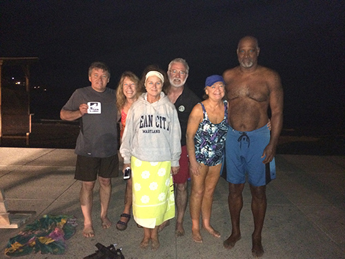 The Aquanuts are pictured in north Ocean City early Wednesday morning. Pictured, from left, are Brian Carlson, Cindy Hendrickson, Monica Daly, Ned Daly, Betsy Daly and Chuck McAfee. Submitted Photo