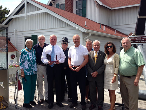 Comptroller Peter Franchot presented Ocean City Mayor Rick Meehan on Monday with a William Donald Schaefer Helping People Award. Pictured, from left, after the presentation are Commissioner Louise Gulyas, Senator Jim Mathias, Meehan, Sheriff Reggie Mason, Franchot, Buck Mann, Commissioner Bud Church and Ocean City Council members Mary Knight and Doug Cymek. Photo by Joanne Shriner