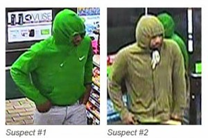 Images captured from the 7-Eleven store's video surveillance show the two suspects in a June 12 armed robbery. Submitted Photo
