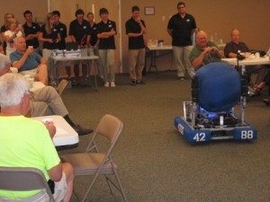 "A machine named ""Bruce"" is pictured showing off what it can do at last week's Kiwanis Club meeting in Ocean Pines. Photo by Travis Brown"