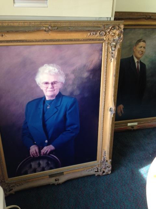 The portrait of Dunes Manor Hotel founder Thelma Conner is pictured after being returned on Tuesday. Submitted Photo