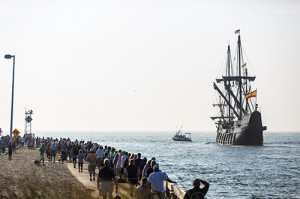 The 170-foot, 500-ton El Galeon Andalucia is pictured leaving Ocean City last year. Photo by Chris Parypa