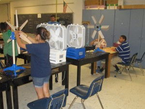 Students are pictured in the classroom at Stephen Decatur Middle School last week at work at understanding wind power. Photo by Travis Brown