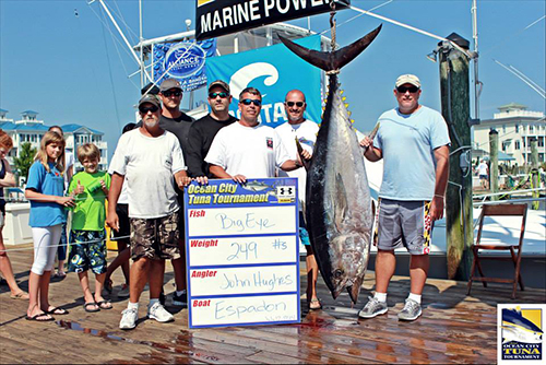 "Angler John Hughes and the crew on the ""Espadon"" hauled in this whopping 249-pound big-eye last Saturday to take first place in the heaviest single tuna category of the Ocean City Tuna Tournament. The big-eye held on for first and the ""Espadon"" was awarded over $273,000 in prize money.  Photo courtesy Hooked on OC"