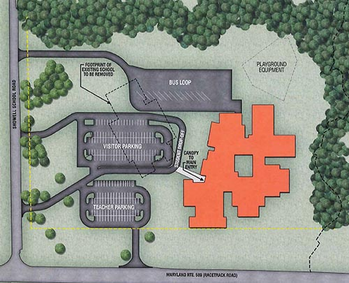 The County Commissioners' preferred site plan for the new Showell Elementary School is shown. Rendering by Becker Morgan