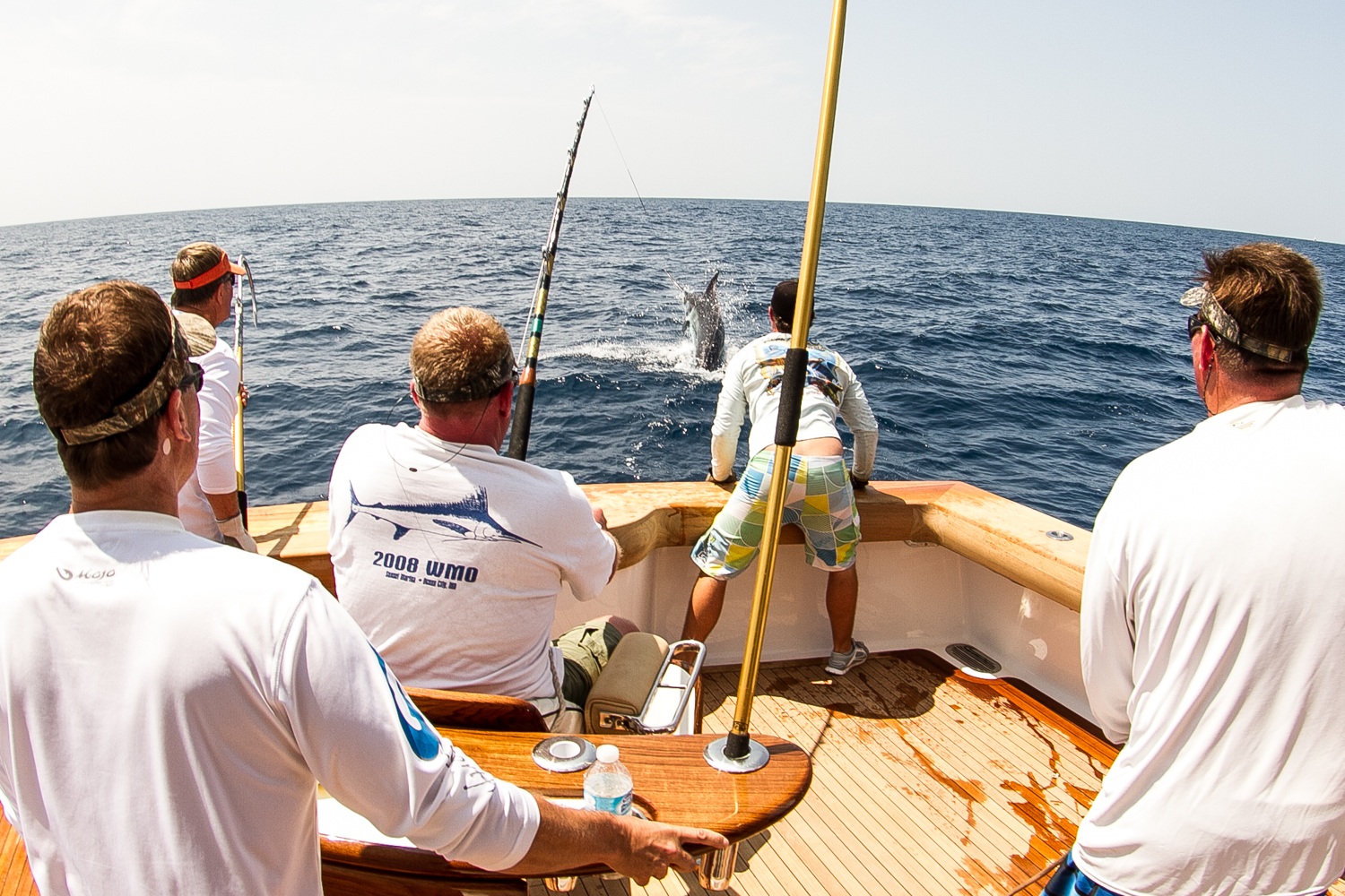 The first-place blue marlin is pictured jumping out of the ocean last Thursday offshore. Photo by Nick Denny