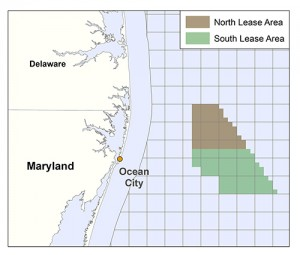 The two adjacent lease areas in the Atlantic Ocean identified as wind farm sites represent 94 square nautical miles with the western most edge approximately 10 miles off Ocean City's coast. Submitted Graphic